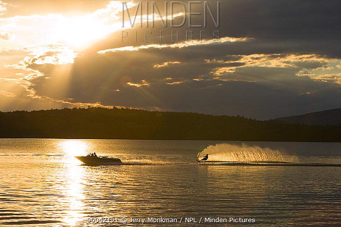 Water skier on Lake Winnepesauke, Moultonboro Neck, New Hampshire, USA  -  Jerry Monkman/ npl