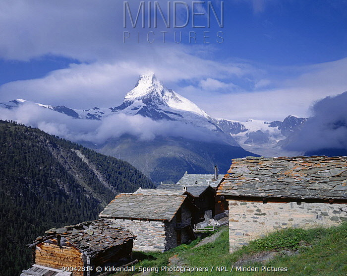 Traditional farm buildings of findeln with the Matterhorn in the distance, Alps, Switzerland  -  Kirkendall-spring/ npl