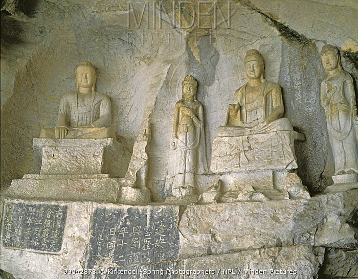 Rock carvings in Fubo Cave along the Li River, Guilin, China  -  Kirkendall-spring/ npl