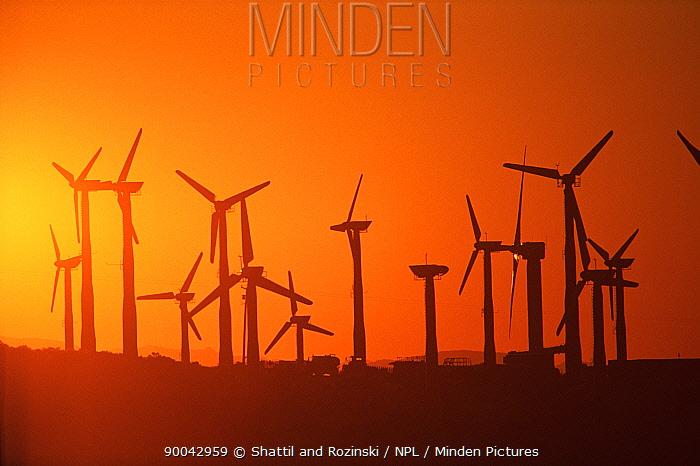 Wind turbines at sunset, California, USA  -  Shattil & Rozinski/ npl