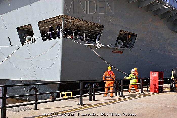 Aircraft Carrier HMS Illustrious at Liverpool docks, UK October 2008  -  Graham Brazendale/ npl