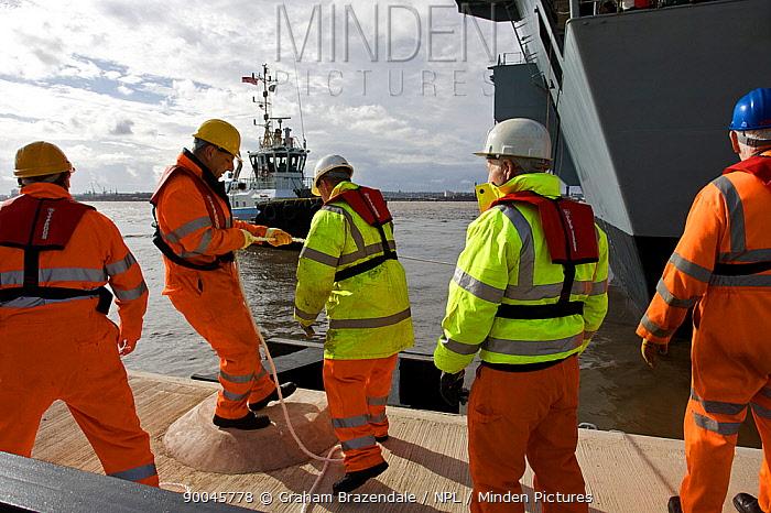 Aircraft Carrier HMS Illustrious docking at Liverpool, UK October 2008  -  Graham Brazendale/ npl