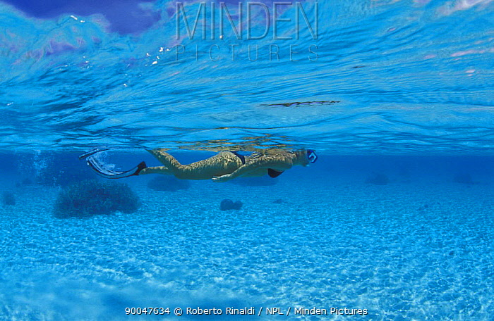 Woman snorkeling off Dondola Island in the Togian Islands, Sulawesi, Indonesia  -  Roberto Rinaldi/ npl
