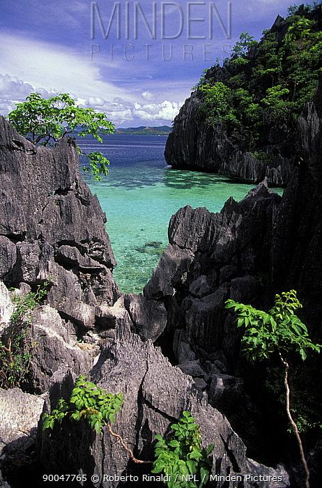 Sharp limestone-cliffs close to Barracuda Lake, Coron, Phillipines  -  Roberto Rinaldi/ npl