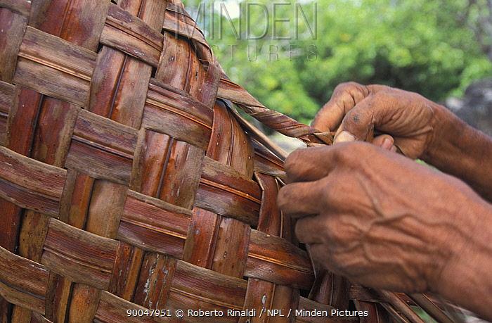 Man weaving a Yap style bag, Micronesia  -  Roberto Rinaldi/ npl