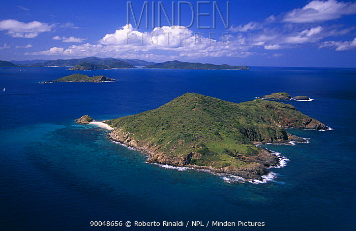 Aerial view of The Dogs, four small rocks off Gorda Island, British Virgin Islands (BVI)  -  Roberto Rinaldi/ npl