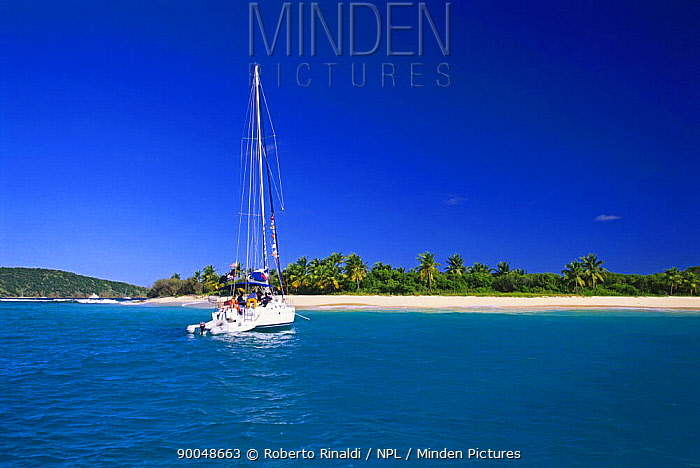 Boat approaching Sandy Cay on Jost Van Dyke Island (JV Dyke), British Virgin Islands (BVI)  -  Roberto Rinaldi/ npl