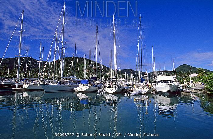 Boats moored in Nanny Cay Marina, Tortola, British Virgin Islands (BVI)  -  Roberto Rinaldi/ npl