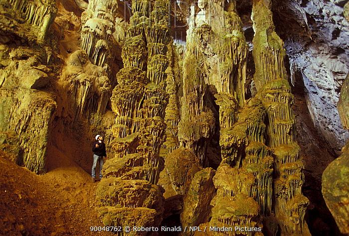 Speleologist looking large stalagmites in Green Cave (Grotta Verde), Capo Caccia, Sardinia  -  Roberto Rinaldi/ npl