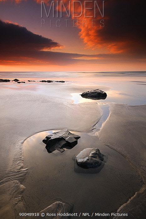 Westward Ho! beach at low tide and evening light, north Devon, UK September 2008  -  Ross Hoddinott/ npl