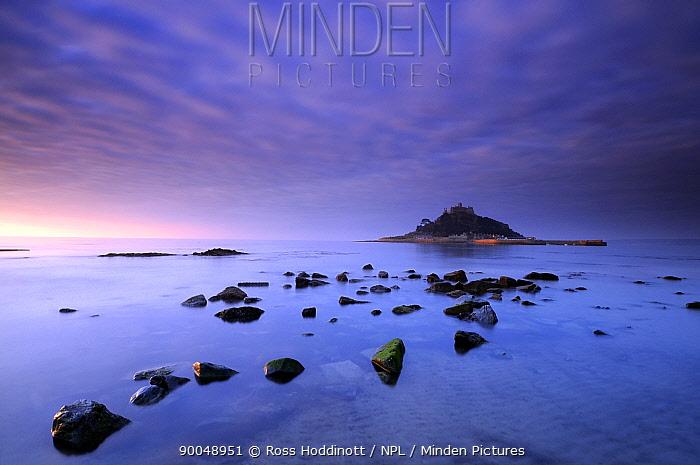 St Michael's Mount at sunrise, from Marazion beach, Cornwall, UK November 2008  -  Ross Hoddinott/ npl