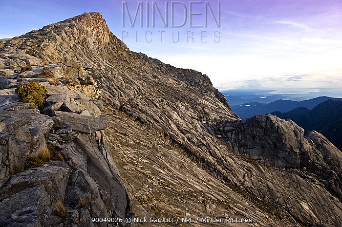 Low's Peak, summit of Mt Kinabalu (at 4101m), just after sunrise Kinabalu Park, Sabah, Borneo, Malaysia  -  Nick Garbutt/ npl
