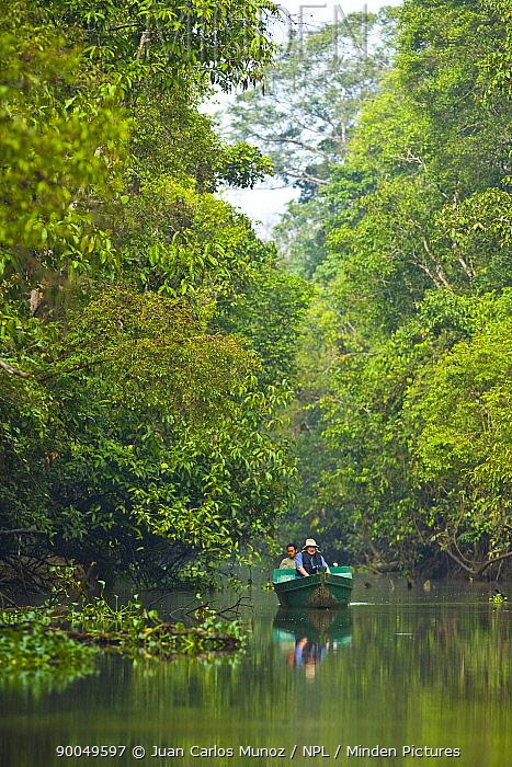 Tourists viewing lowland rainforest from boat, River Sungai Kinabatangan, Sabah, Borneo, Malaysia 2007  -  Juan Carlos Munoz/ npl
