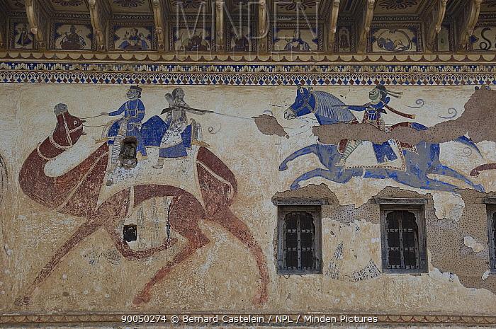 Traditional paintings on wall of Havelis (merchant's house) Ratannagar, Rajasthan, India  -  Bernard Castelein/ npl