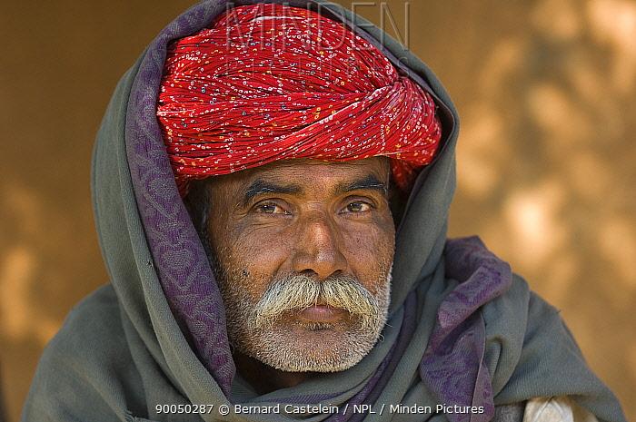 Rajasthani man from Amirpur village, Rajasthan, India  -  Bernard Castelein/ npl