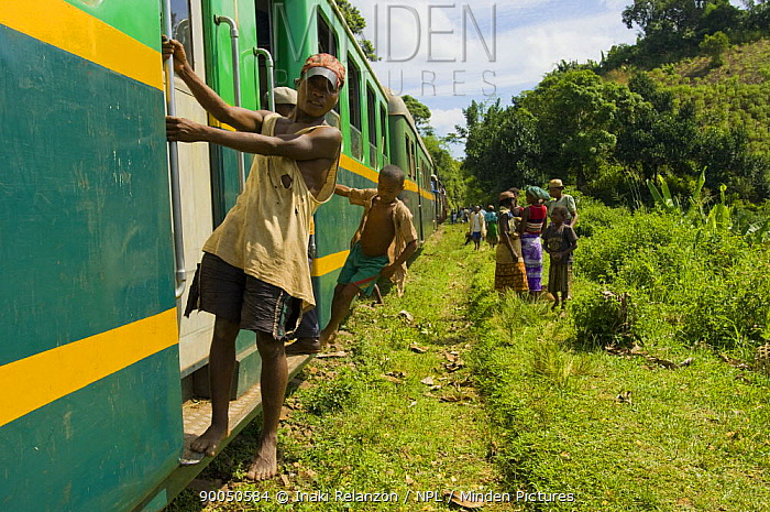 People riding on and watching the train between Manakara and Fianarantsoa, the only remaining train in Madagascar  -  Inaki Relanzon/ npl