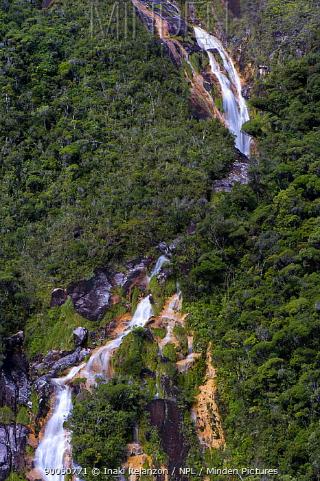 Waterfall near the summit, the highest point of Marojejy National Park, Madagascar, North east  -  Inaki Relanzon/ npl