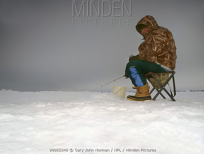 Ice fisherman sitting patiently with his rod in a hole he's made on Round Lake Brainerd, Minnesota, USA 2006  -  Gary John Norman/ npl
