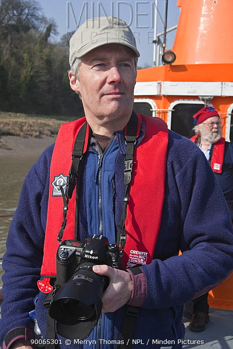 Photographer, Rob Cousins, on lifeboat photographing the Avon River Cornish Pilot Gig Race, Bristol, March 21st 2009  -  Merryn Thomas/ npl