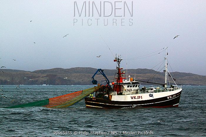 Wick registered fishing vessel Opportune using the seine net method of fishing for haddock and flatfish St Magnus Bay, Shetland, March 2009  -  Philip Stephen/ npl