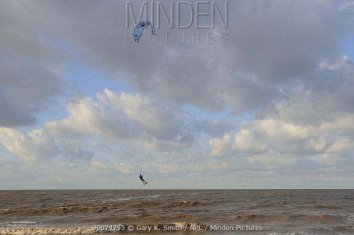 Windsurfer, North Sea, Norfolk, UK, October  -  Gary K. Smith/ npl