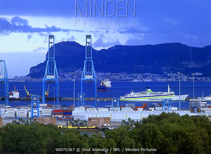 Algeciras harbour with Rock of Gibraltar in the background, Mediterranean coast, Cadiz, Andalucia, Spain, April  -  Oriol Alamany/ npl