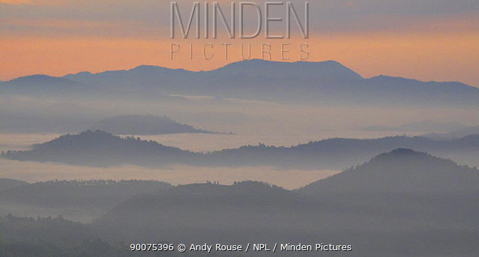 Sunrise over the Virunga Mountains, Rwanda  -  Andy Rouse/ npl