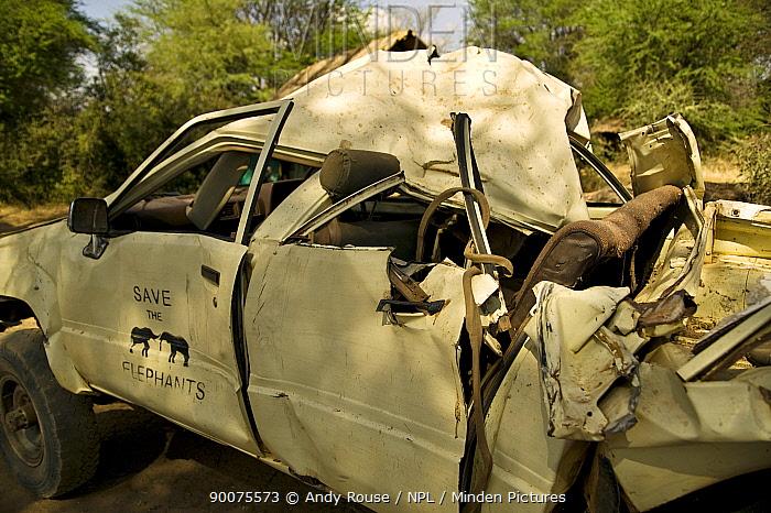 African Elephant (Loxodonta africana) damage to Save the Elephants' research vehicle Savuti, Botswana  -  Andy Rouse/ npl