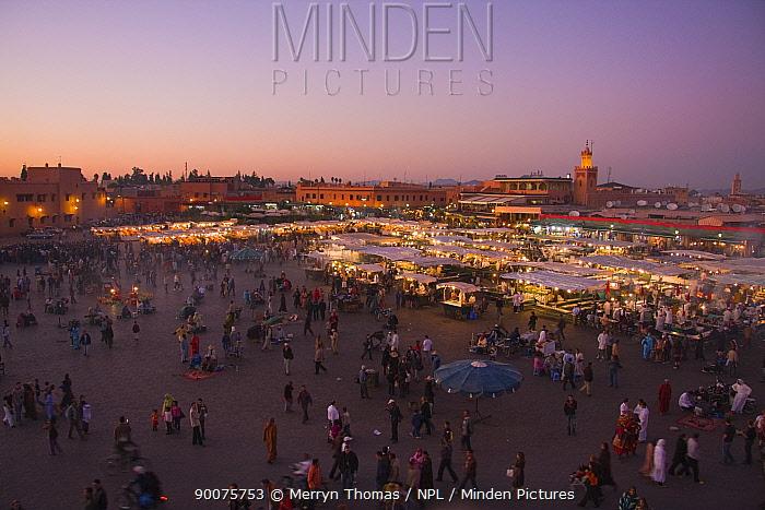 Djemaa el-Fna town square at dusk, Marrakech, Morocco, November 2008  -  Merryn Thomas/ npl