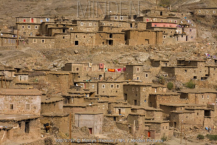 Town in the foothills of the Atlas Mountains, Morocco, November 2008  -  Merryn Thomas/ npl