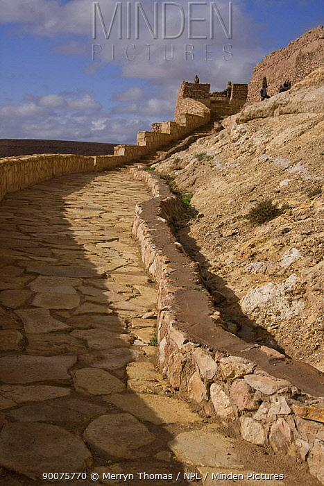 Steps ascending A?t Benhaddou Kasbah UNESCO site, Morocco November 2008  -  Merryn Thomas/ npl
