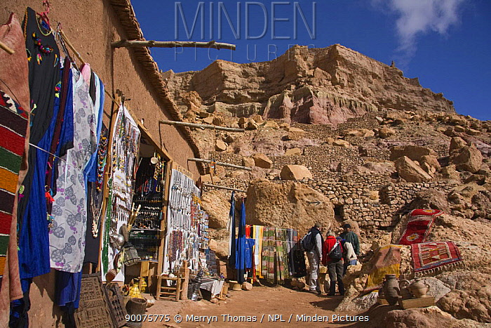 Tourists looking at goods for sale, A?t Benhaddou Kasbah UNESCO site, Morocco November 2008  -  Merryn Thomas/ npl