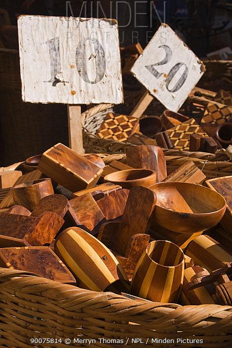 Wooden crafts for sale in Essaouira medina, Morocco November 2008  -  Merryn Thomas/ npl