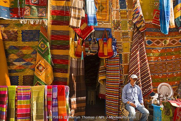 Man sitting outside his carpet shop in Essaouira town, Morocco, November 2008  -  Merryn Thomas/ npl