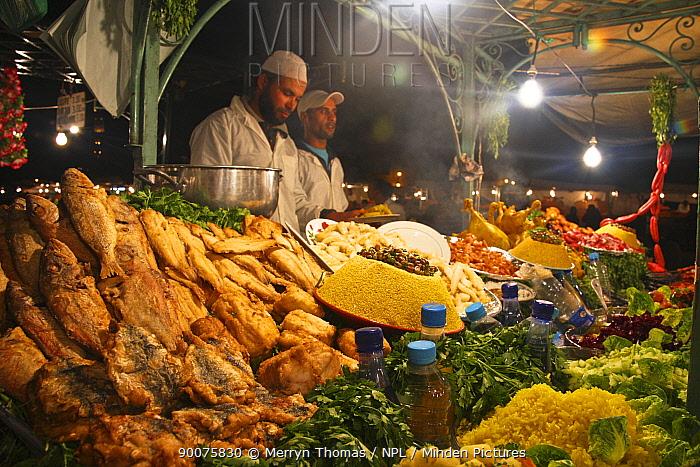Fresh food being prepared in night souk, Djemaa el-Fna town square, Marrakech, Morocco November 2008  -  Merryn Thomas/ npl