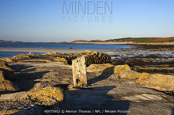 Bollard on Old Quay Beach, Higher Town, St Martin's, Isles of Scilly December 2008  -  Merryn Thomas/ npl