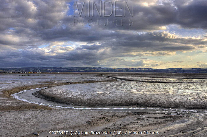 View across mud flats on the River Dee to North Wales from the newly reopened Marine Lake, West Kirby, on the Wirral July 2009  -  Graham Brazendale/ npl