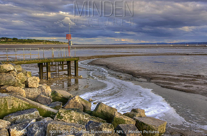 View across mud flats and jetty on the River Dee to North Wales from the newly reopened Marine Lake, West Kirby, on the Wirral July 2009  -  Graham Brazendale/ npl