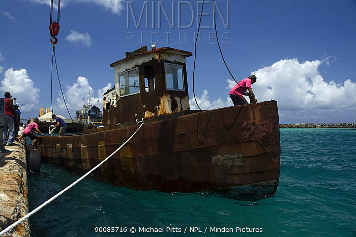 Tugboat wreck ''Blue Plunder'' being prepared for towing out to sea and sinking Nassau, Bahamas August 2007  -  Michael Pitts/ npl