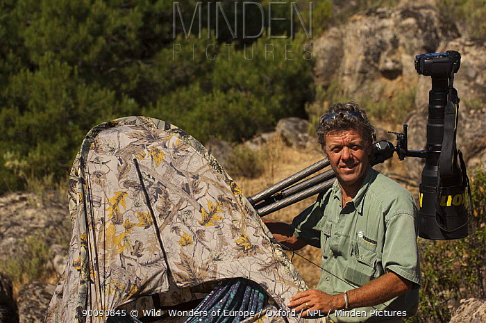 Photographer, Pete Oxford, next to hide, Sierra de And�jar Natural Park, Mediterranean woodland of Sierra Morena, north east Ja?n Province, Andalusia, Spain, May 2009  -  WWE/ Oxford/ npl