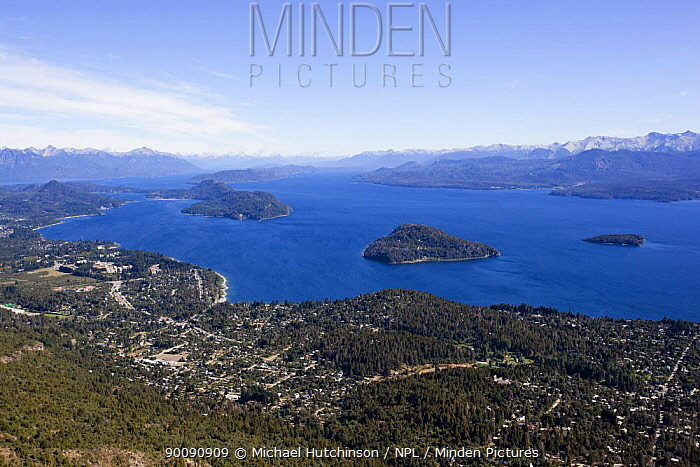 Aerial view of Lake Nahuel Huapi and the town of Bariloche, Argentina February 2009  -  Michael Hutchinson/ npl