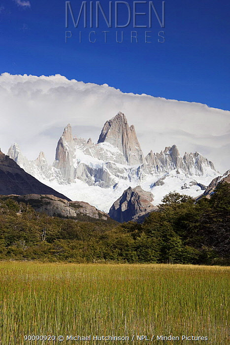 Cerro Fitz Roy with thick clouds behind, Los Glaciares National Park, Argentina February 2009  -  Michael Hutchinson/ npl