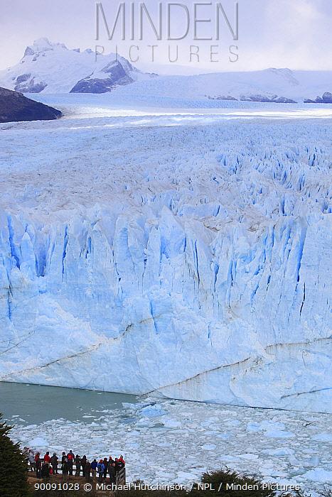 Perito Moreno Glacier with tourists, Los Glaciares National Park, Argentina February 2009  -  Michael Hutchinson/ npl