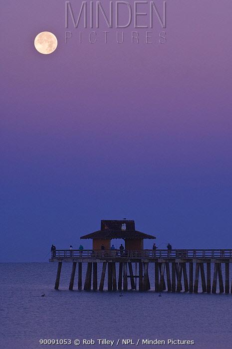 Full moon over Naples pier, Florida, USA, January 2009  -  Rob Tilley/ npl