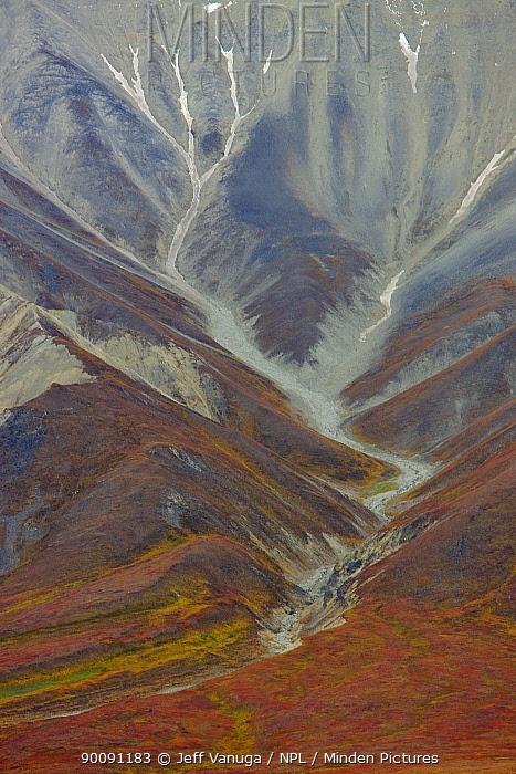 Aerial view of Polychrome Basin in Denali National Park, Alaska, USA, September 2008  -  Jeff Vanuga/ npl