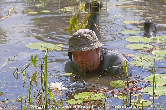 Photographer, Ruben Smit, in water, Gornje Podunavlje Special Nature Reserve, Serbia, June 2009  -  WWE/ Smit/ npl