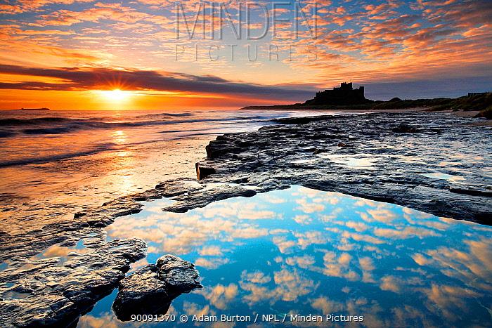 Sunrise on coast near Bamburgh Castle, Northumberland, England  -  Adam Burton/ npl