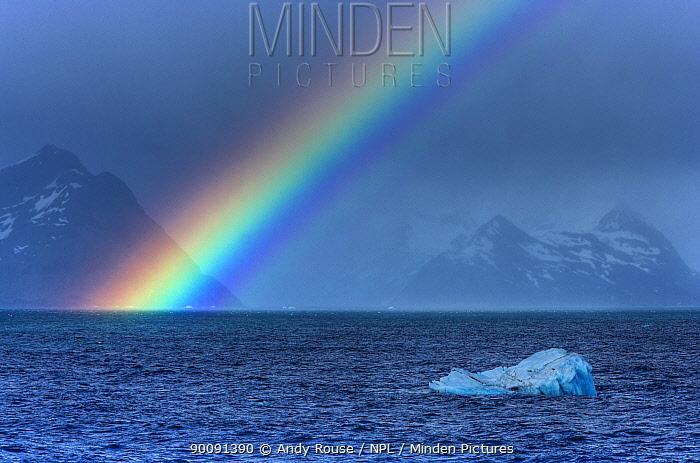 Rainbow and iceberg off coast of South Georgia (non-ex)  -  Andy Rouse/ npl