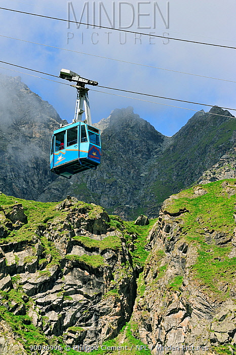 Cable car on a cloudy day in the mountains, Switzerland, July 2009  -  Philippe Clement/ npl