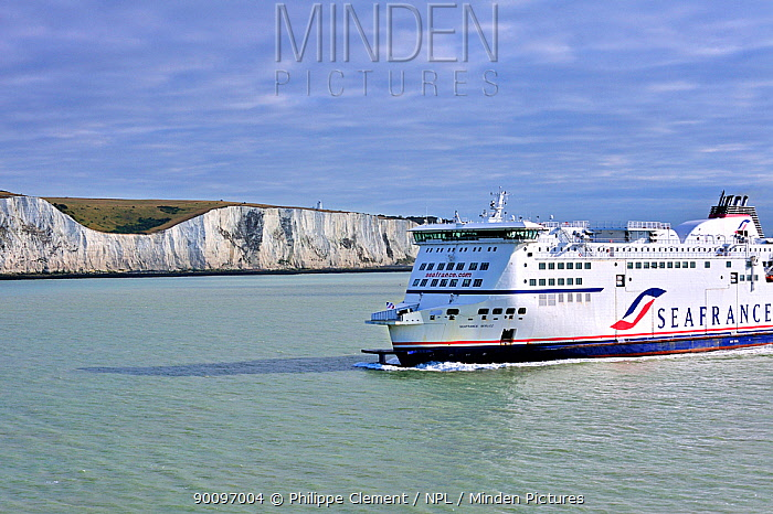 Seafrance ferry passing the white cliffs of Dover, Kent, UK, July 2009  -  Philippe Clement/ npl